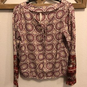 Hippie Laundry Lace Up Patterned Peasant Blouse